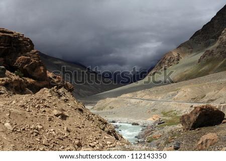 A water stream passing through Himalaya mountains - stock photo