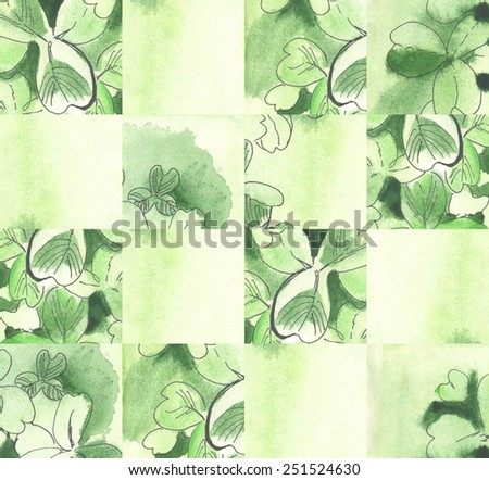 A watercolor abstract floral (with Clover leaves) background - stock photo