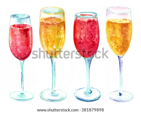 A watercolor drawing of four glasses of pink and golden champagne on white background - stock photo