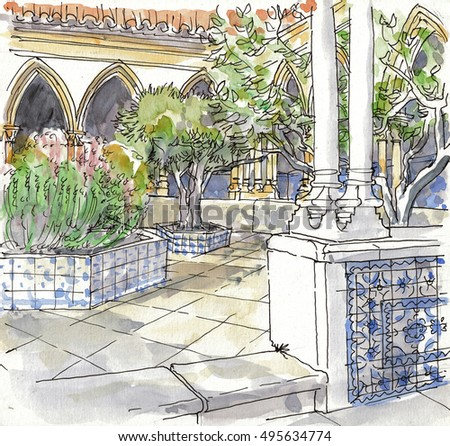 A Watercolor Illustration of a Patio in an Old Stone House, Tiled with Traditional Portuguese Azulejos.