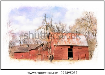 A watercolor of an pld abandoned red barn in the Delaware Water Gap