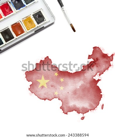 A watercolor painting of China in the national colors.(series) - stock photo