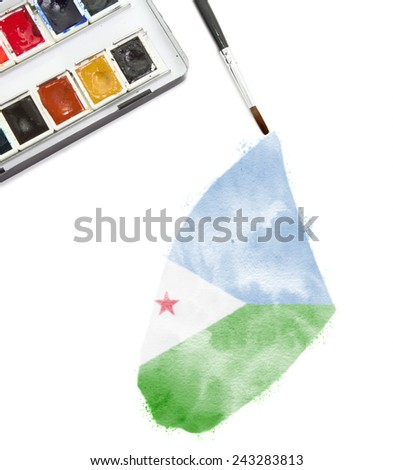 A watercolor painting of Djibouti in the national colors.(series)