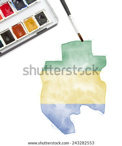 A watercolor painting of Gabon in the national colors.(series)