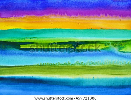 A watercolor painting with horizontal bands of color,