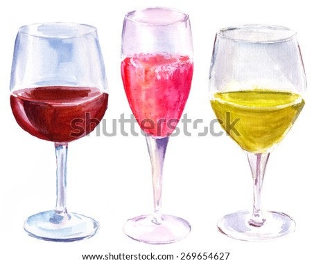 A watercolor set of three wine glasses (with red wine, sparkling rose and white wine) on white background