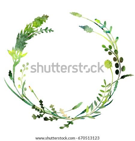 Watercolor Wreath Made Field Meadow Herbsplantstwigsa Stock ...