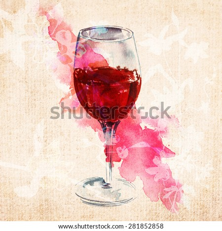 A watercolour drawing of a glass of red wine on old textured paper with abstract flowers silhouettes  - stock photo