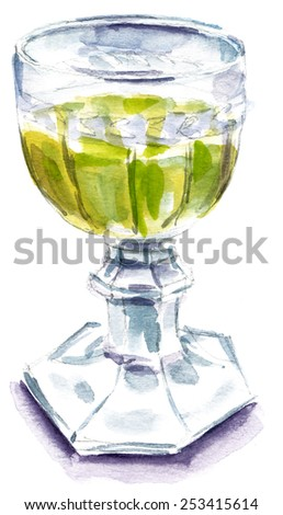 A watercolour drawing of a retro goblet with golden white wine on white background