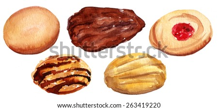 A watercolour drawing of traditional tea cookies, isolated - stock photo