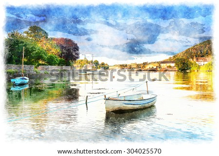 A watercolour painting of boats on the river Tamar at Millbrook in Cornwall