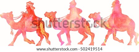 A watercolour picture of three Christmas kings riding on camels.