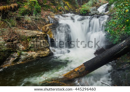 A waterfall on Appalachian trail. This section of the trail is in between Georgia, North Carolina, and Tennessee state line near the Smokey Mountain National Park, USA - stock photo