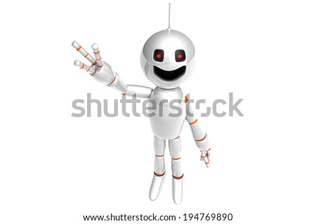 A waving and greeting cartoon Robot. 3D rendered Illustration. - stock photo