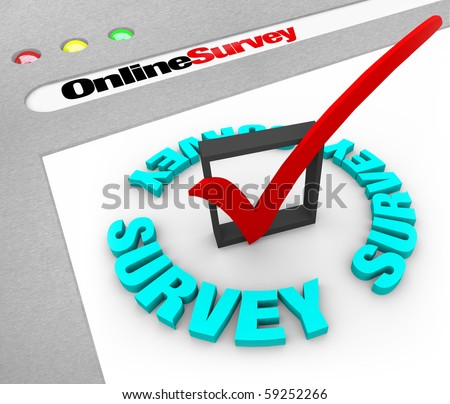 A web browser window shows the words Online Survey and a check mark in box