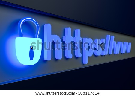 a web page address in a browser, secure network - stock photo