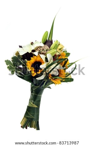A wedding bunch of flowers on white background - stock photo