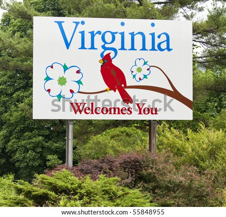 A welcome sign at the Virginia state line.