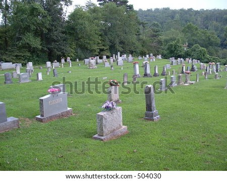 A well kept cemetary