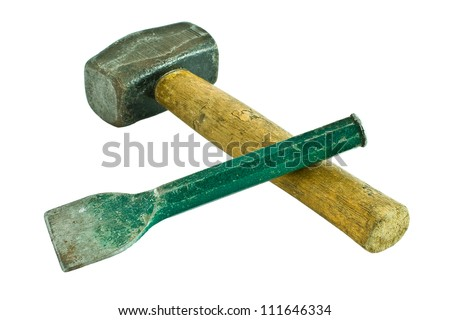 A well used hammer and chisel isolated on a white background - stock photo