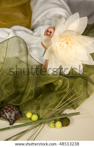 a wellness composition showing the big toe of a mature woman with a smiley, a flower, a toy turtle and a silk scarf