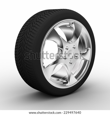 A wheel with aluminum rim