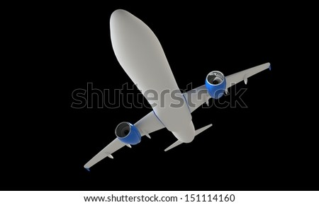 A white airplane in air isolated on black