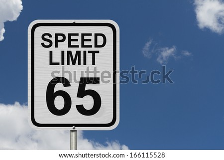 A white American road sign with words Speed Limit and 65 with sky background, Speed Limit 65 Sign - stock photo