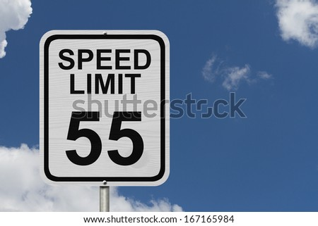 A white American road sign with words Speed Limit and 55 with sky background, Speed Limit 55 Sign - stock photo
