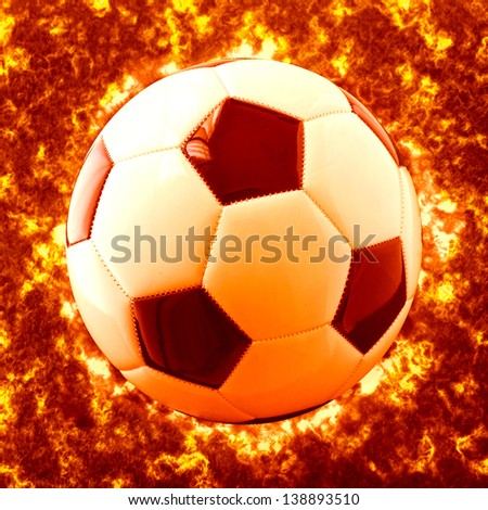 A White and black football over grass - stock photo