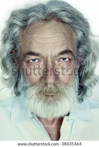 a white background close-up of a person's grandfather, with long gray hair, beard and mustache - stock photo