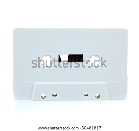A white blank cassette tape on a white background - stock photo