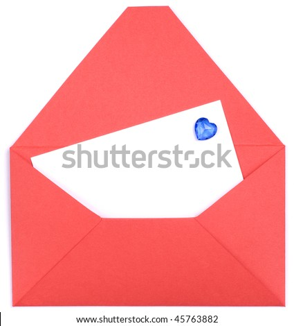 A white blank in a opened red envelope. Valentine's day card.