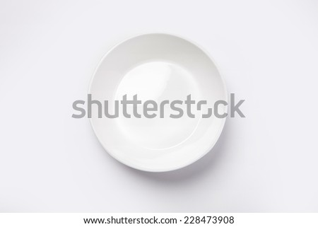 A white bowl isolated white(grey) and top view. - stock photo