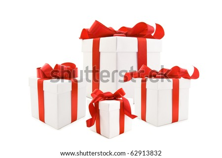 A white boxs tied with a red satin ribbon bow. A gift for Christmas, Birthday, Wedding, or Valentine's day. Isolated on white with clipping path. - stock photo