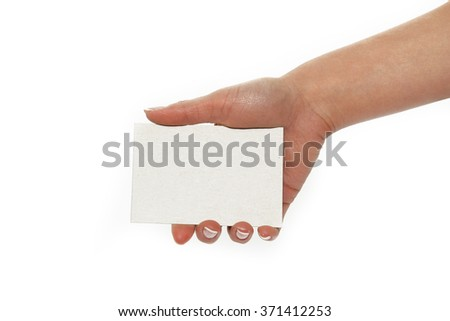 a white card in a hand