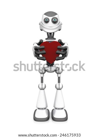 A white cartoon robot holding a big red heart and smiling. White background.