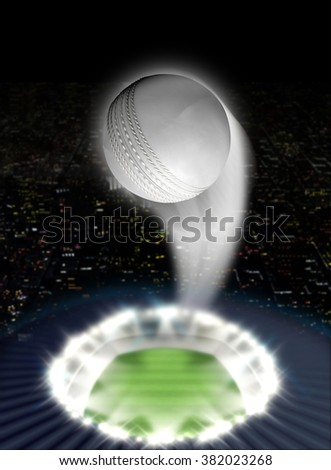 A white cricket ball swooshing into the atmosphere from a stadium with a green grass pitch under spotlights on a night city scape background - stock photo