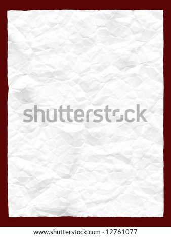 A white crumpled piece of paper with an empty space for a text - stock photo