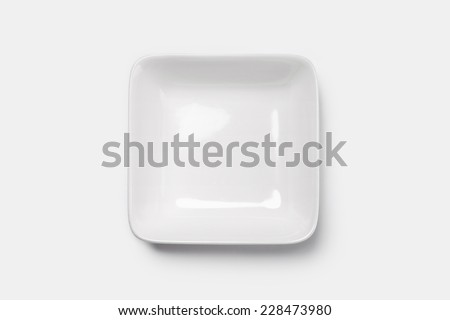 A white dish(plate) isolated white(grey) and top view.