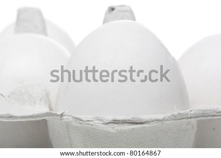 A white egg in a brown egg carton - stock photo