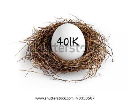 A white egg in a nest on a white background with the word 401K on the egg.