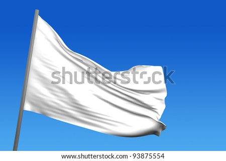 A white flag in a blue sky in background - stock photo