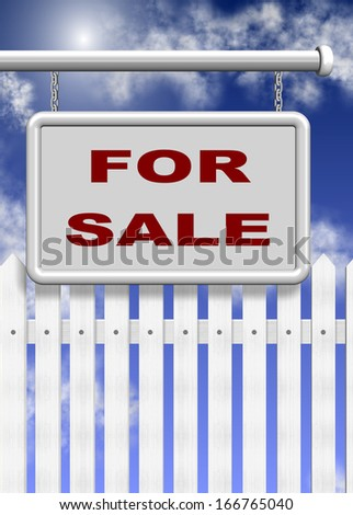 A white for sale sign and picket fence behind it with blue sky in the background / For sale - stock photo