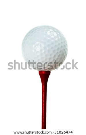A white golf ball sitting on a red tee