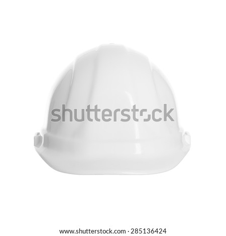 A white hard hat isolated on a white background. - stock photo