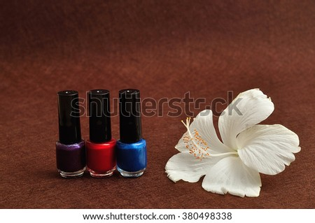 A white Hibiscus flower displayed with a row of colorful nail polish isolated on a brown background - stock photo