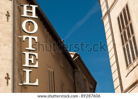 a white hotel sign - stock photo