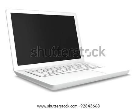 A white laptop isolated with white background. - stock photo