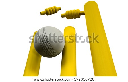 A white leather cricket ball hitting yellow wooden cricket wickets on an isolated white background - stock photo